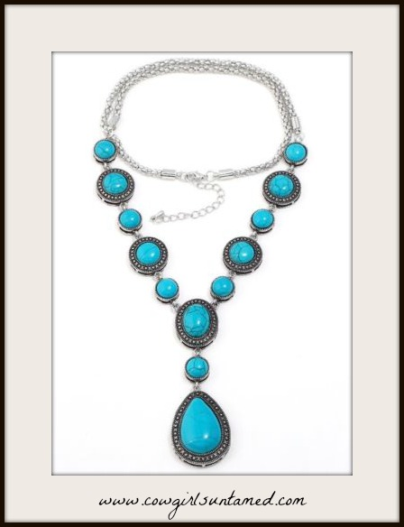 BOHEMIAN COWGIRL NECKLACE Tibetan Silver & Turquoise Long Necklace