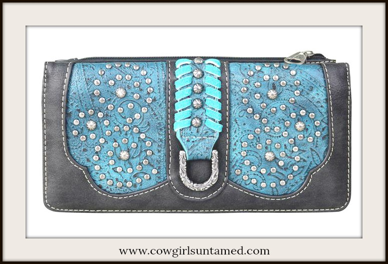 BOHEMIAN COWGIRL WALLET Blue & Aqua Saddle Stitch Tooled Black Leather Wallet