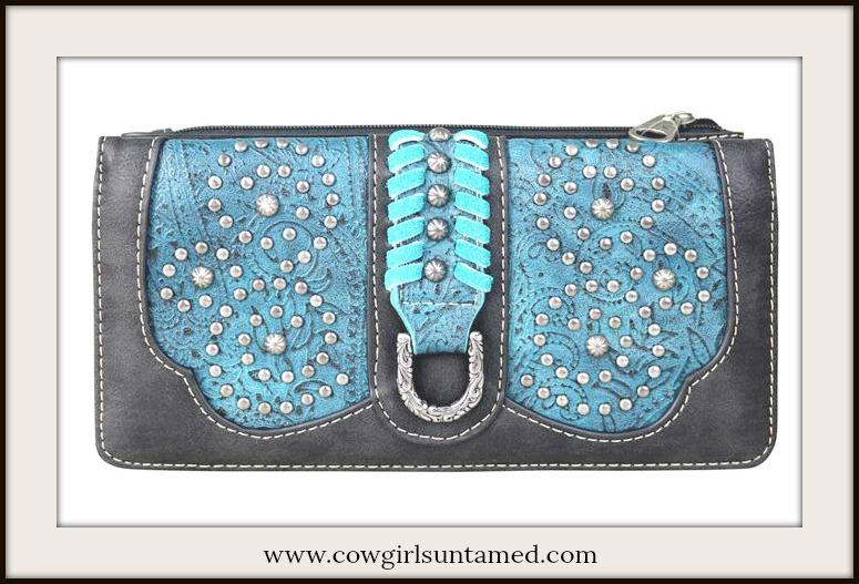 BOHEMIAN COWGIRL WALLET Blue & Aqua Saddle Stitch Tooled Black Leather Wallet
