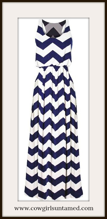 COWGIRL STYLE DRESS Blue and White Chevron Zig Zag Lined Maxi Dress