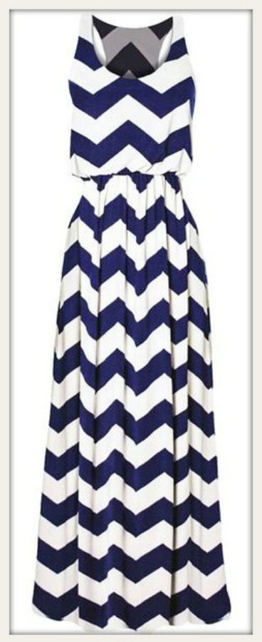 COWGIRL STYLE DRESS Blue and White Chevron Zig Zag Lined Maxi Dress  Last One  2 X Plus Size