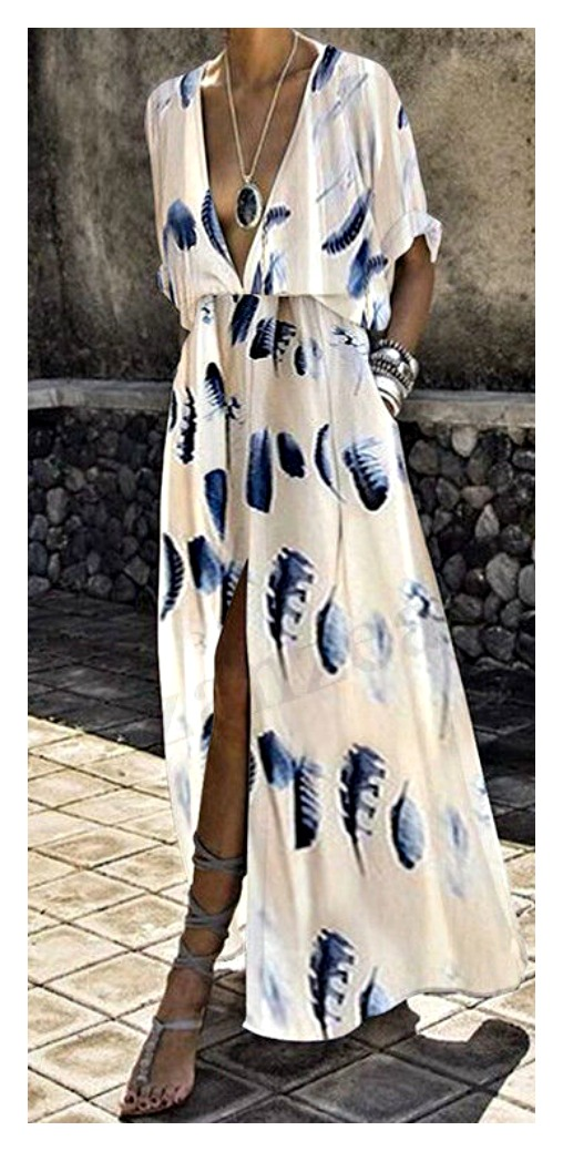 THE SOPHIA DRESS Blue Feather Print Deep V Slit Kimono Sleeve White Boho Maxi Dress LAST ONE! 2X