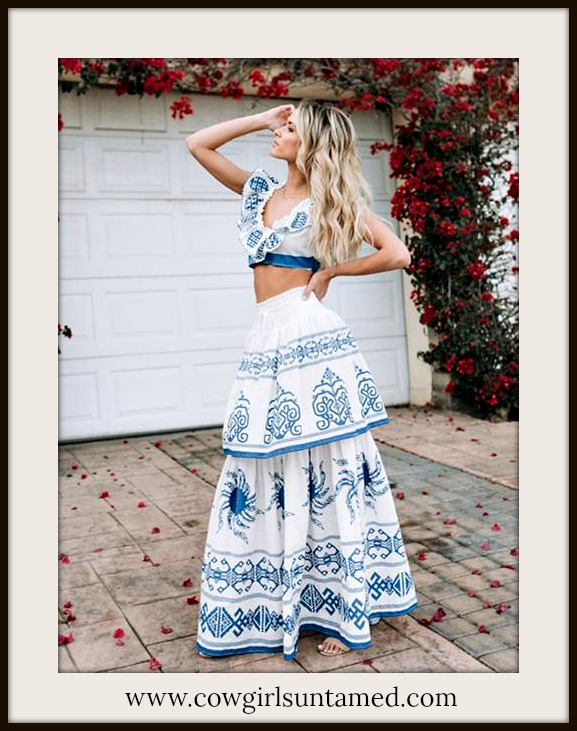 BOHO CHIC DRESS Blue & White Lace Tiered Skirt and Crop Top Set