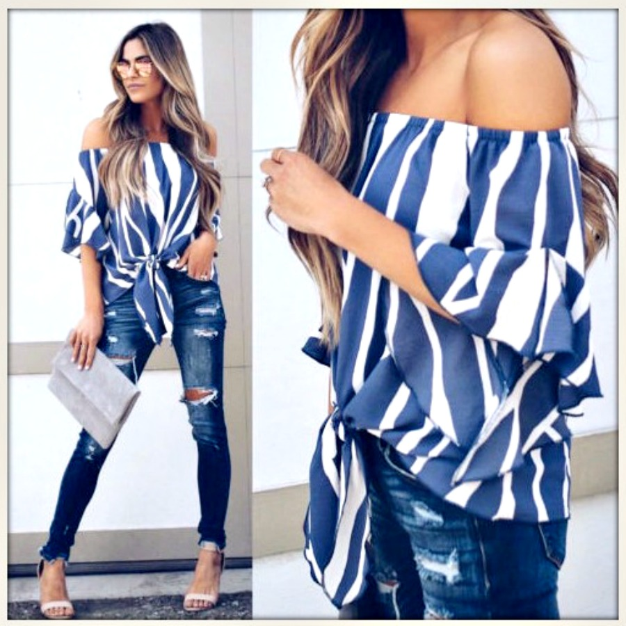 BOHEMIAN COWGIRL TOP Cobalt Blue & White Striped Off the Shoulder Tie Front Top