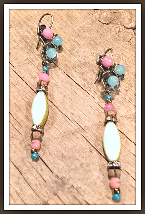 VINTAGE COWGIRL EARRINGS Blue Glass Wood Pink Gemstone Rhinestone Teal Antique Bronze Earrings