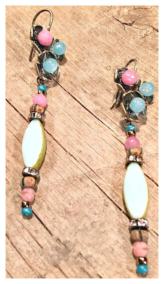 VINTAGE COWGIRL EARRINGS Blue Glass Wood Pink Gemstone Rhinestone Teal Antique Bronze Earrings