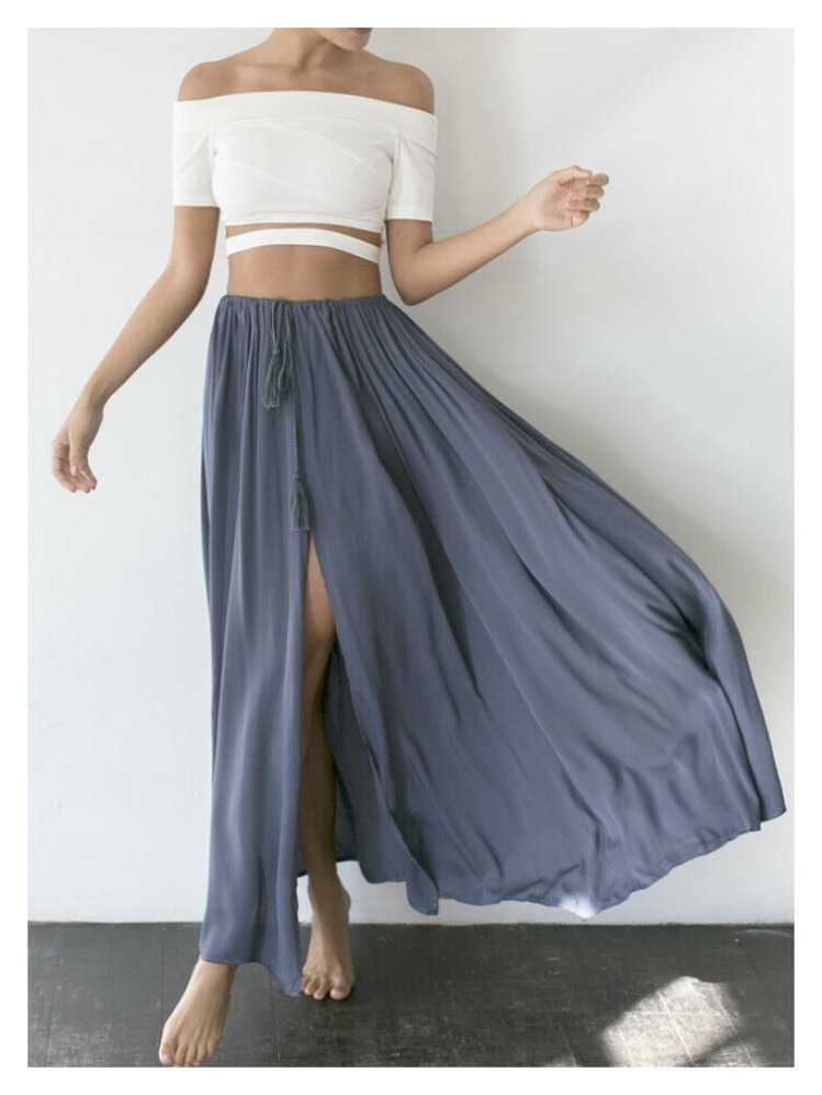 9e65620f87e59e THE CHELSEA SKIRT Blue Drawstring Slit Front Long Casual Boho Maxi Skirt