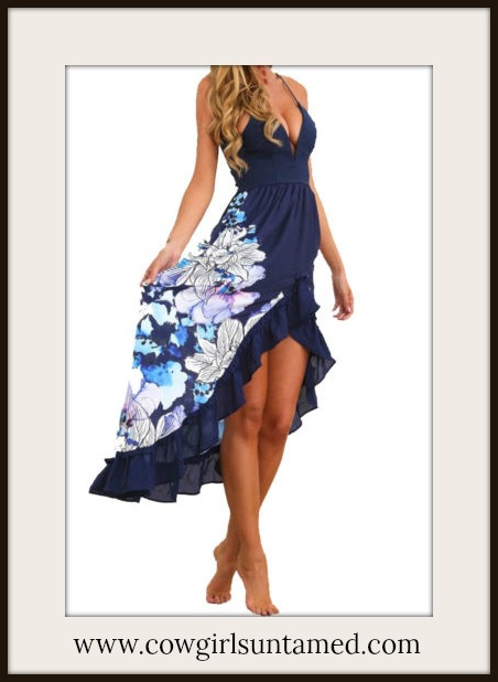 WILDFLOWER DRESS Blue Floral High Low Sleeveless Ruffle Dress