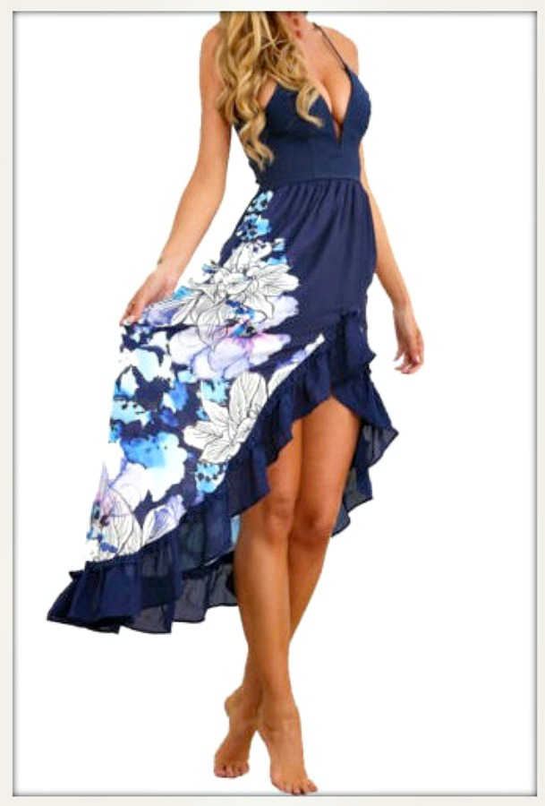 WILDFLOWER DRESS Blue Floral High Low Sleeveless Ruffle Dress  LAST ONE  S/M
