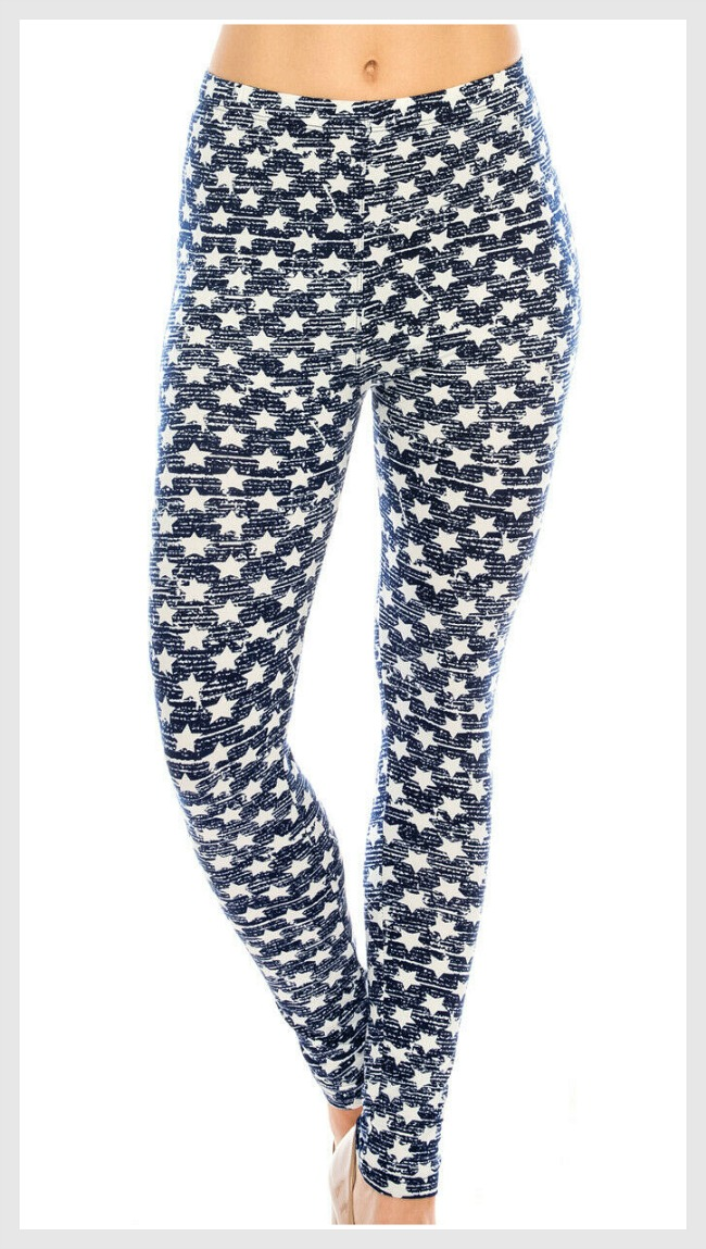 ITS IN THE STARS LEGGINGS Blue and White Star Leggings - One Size & Plus Size
