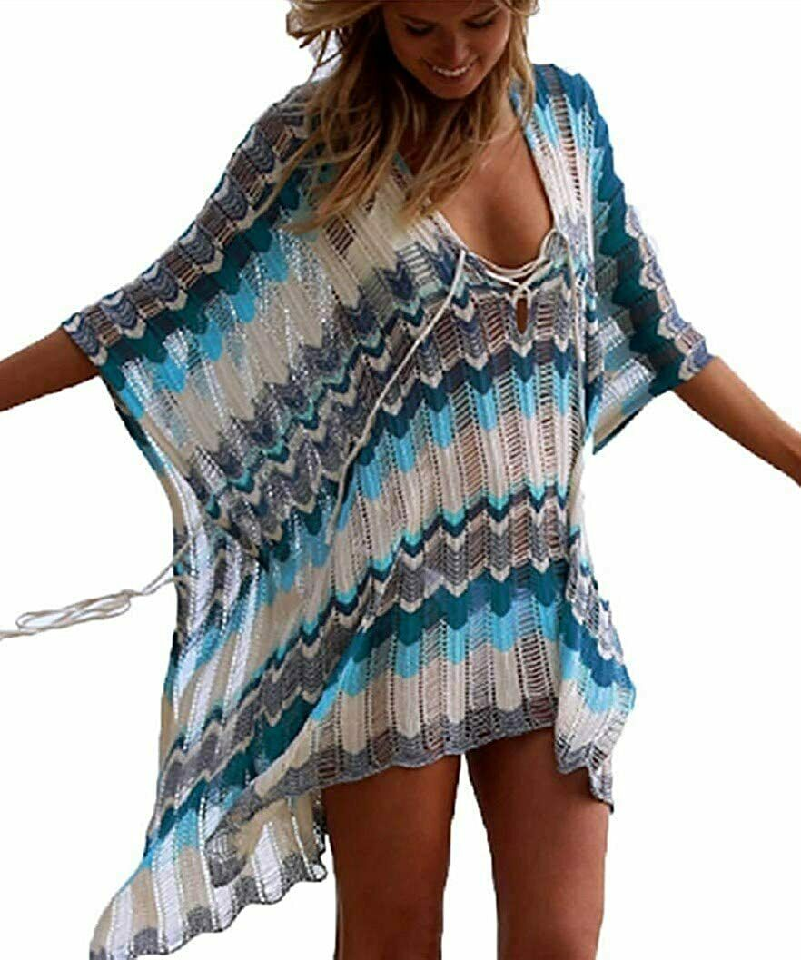 BOHEMIAN COWGIRL COVER UP Multi Blue Stripe Crochet Knit Lace Up Oversized Bikini Boho Cover Up