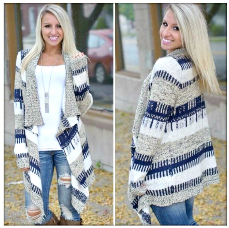 COWGIRL STYLE SWEATER Blue, White & Grey Aztec Print Jersey Knit Cardigan