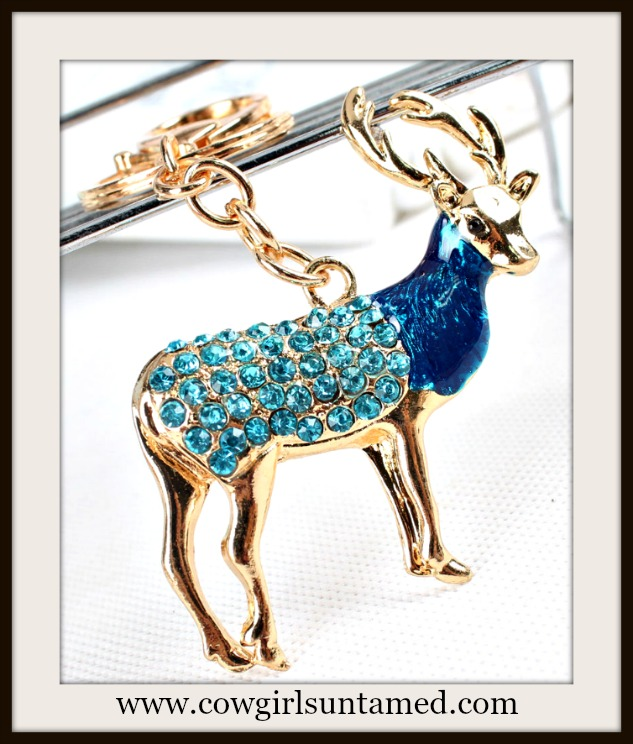 COUNTRY COWGIRL KEYCHAIN Turquoise Rhinestone and Blue Enamel Buck Keychain