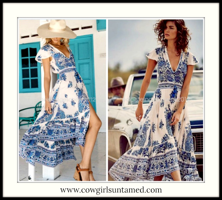 BOHEMIAN COWGIRL DRESS Shades of Blue Floral High Low Ruffle Hem Deep V Button Front Boho Maxi Dress
