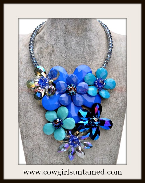 COWGIRL GYPSY NECKLACE Crystal Chain Blue Resin Flower Collar Statement Bib Necklace