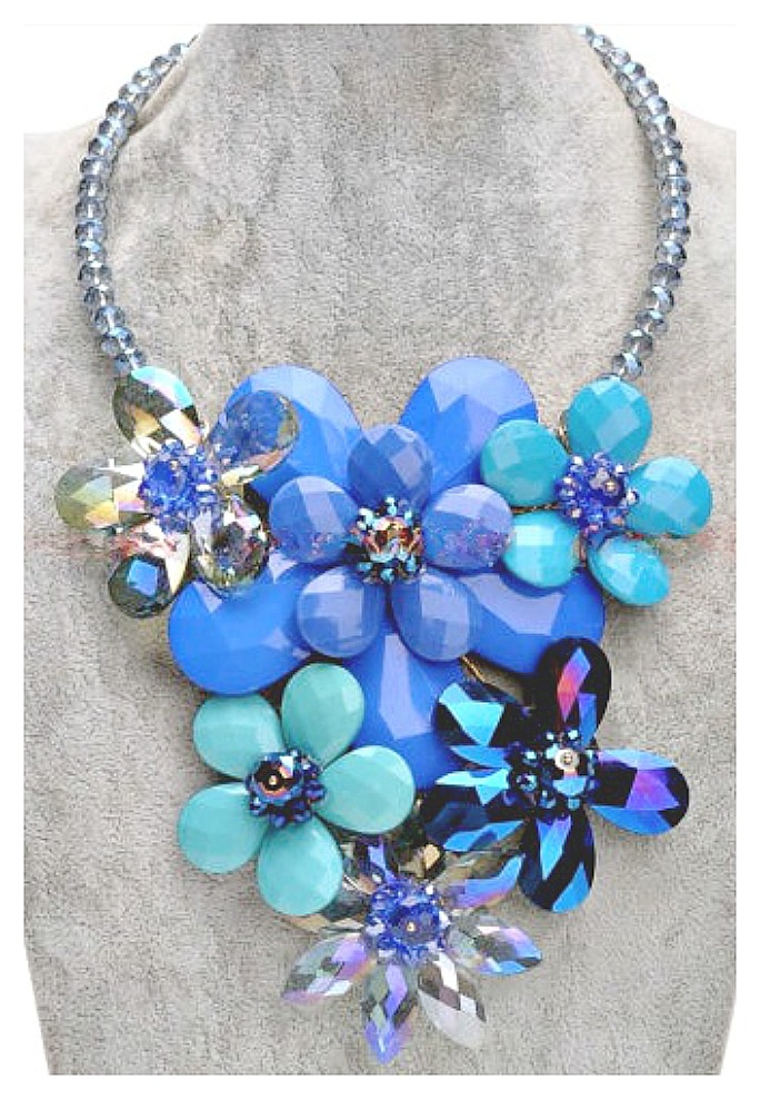 COWGIRL GYPSY NECKLACE Crystal Chain Blue Resin Flower Statement Bib Necklace