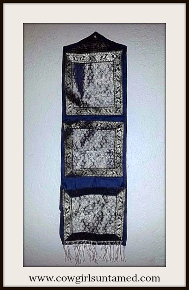 BOHEMIAN HOME DECOR Navy Blue and Gold Brocade & Fringe Wall Organizational Letter Holder