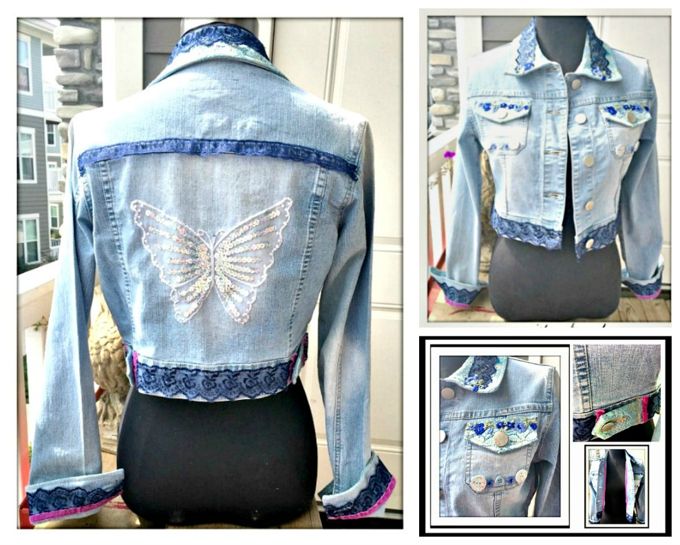 BOHEMIAN COWGIRL JACKET Embellished Blue & Aqua Lace Pink Velvet Sequin Butterfly Back Jean Jacket