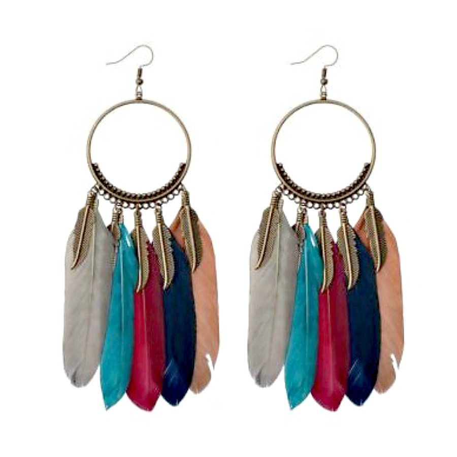 BOHEMIAN COWGIRL EARRINGS2 Multi Color Feather Antique Bronze Long Earrings