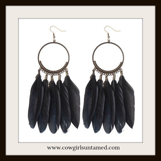 BOHEMIAN COWGIRL EARRINGS Black Feather Antique Bronze Long Earrings