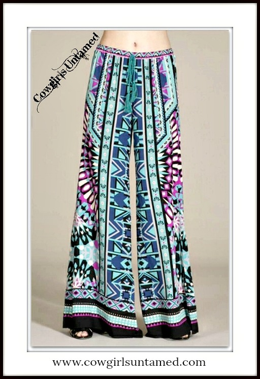COWGIRL GYPSY PANTS Turquoise Aqua Black Blue Aztec Boho Drawstring Pants  Size ONE SIZE