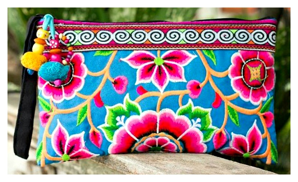 BOHEMIAN STYLE BAG Hot Pink Blue Green Orange Floral Embroidered Boho Gypsy Clutch