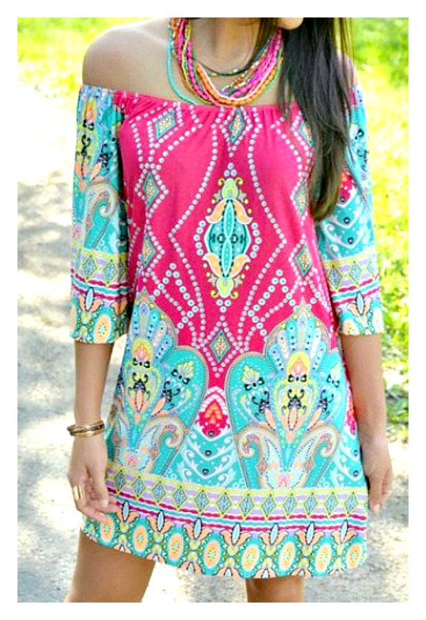 WILDFLOWER DRESS Off the Shoulder Multi Color Boho Mini Dress