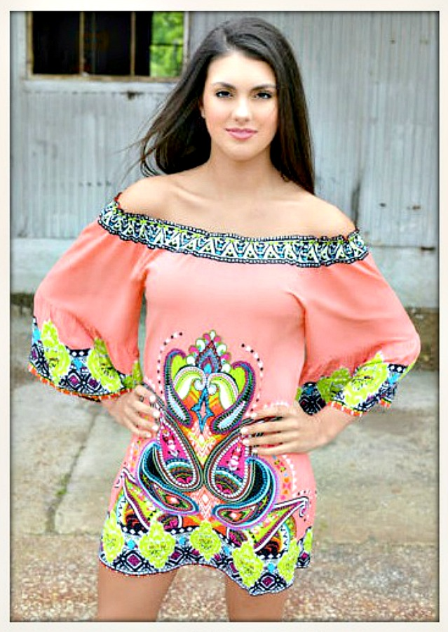 WILDFLOWER DRESS Coral Off the Shoulder Multi Color Boho Mini Dress