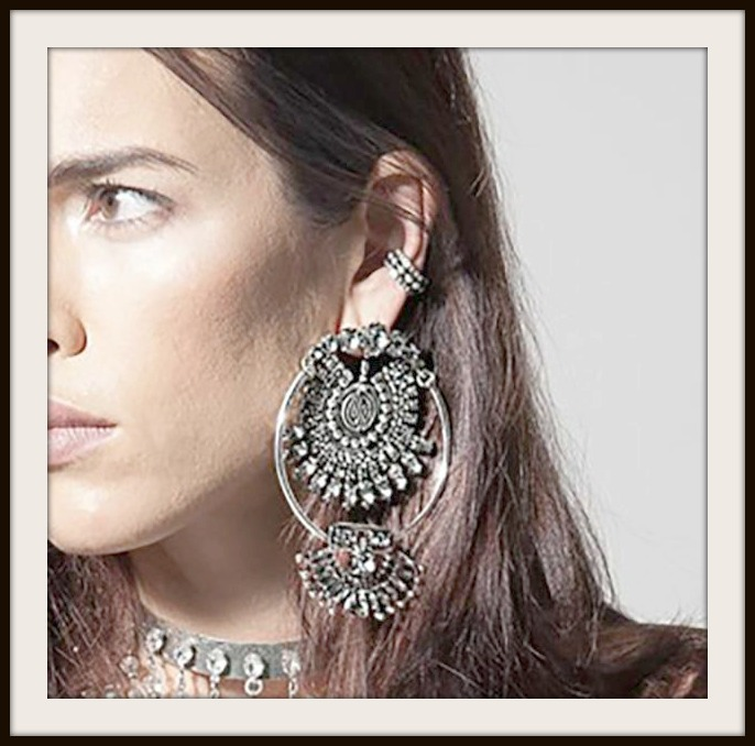 Vintage Large Rhinestone Boho Statement Earrings