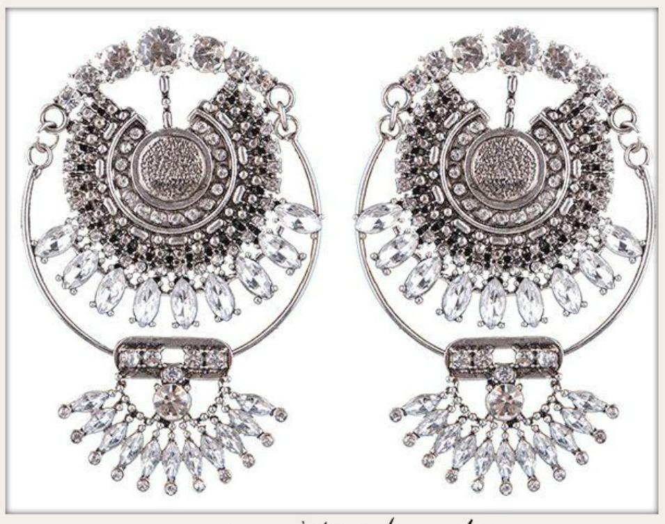 BOHO CHIC EARRINGS Vintage Large Rhinestone Boho Statement Earrings GOLD or SILVER