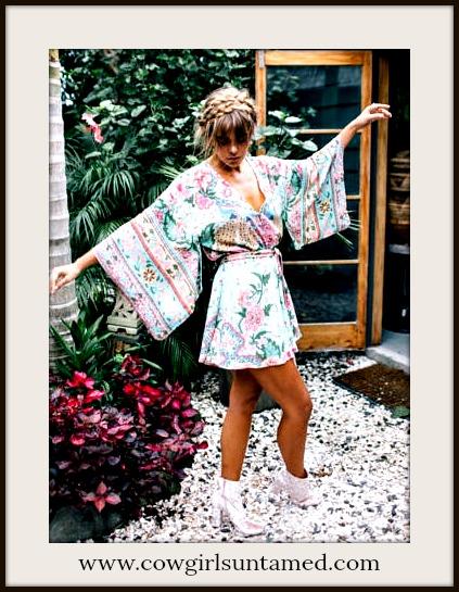 BOHEMIAN COWGIRL ROMPER Floral Kimono Sleeve Boho Chic Aqua Romper