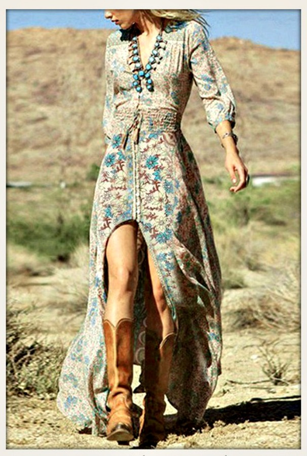 BOHEMIAN COWGIRL DRESS Blue Turquoise and Brown Floral Mixed Pattern on Beige Chiffon Maxi Dress