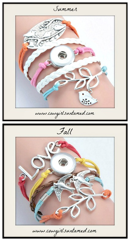 COWGIRL ATTITUDE BRACELET Silver Bird SNAP Charm Multi Color Leather Bracelets
