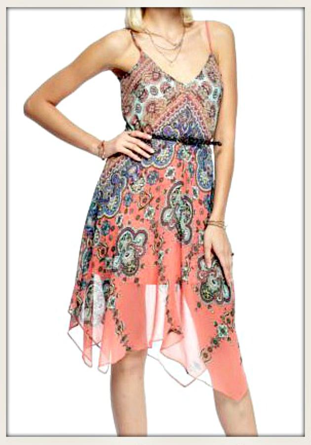 BOHO CHIC DRESS Multi Color Handkerchief Hemline Chiffon Dress