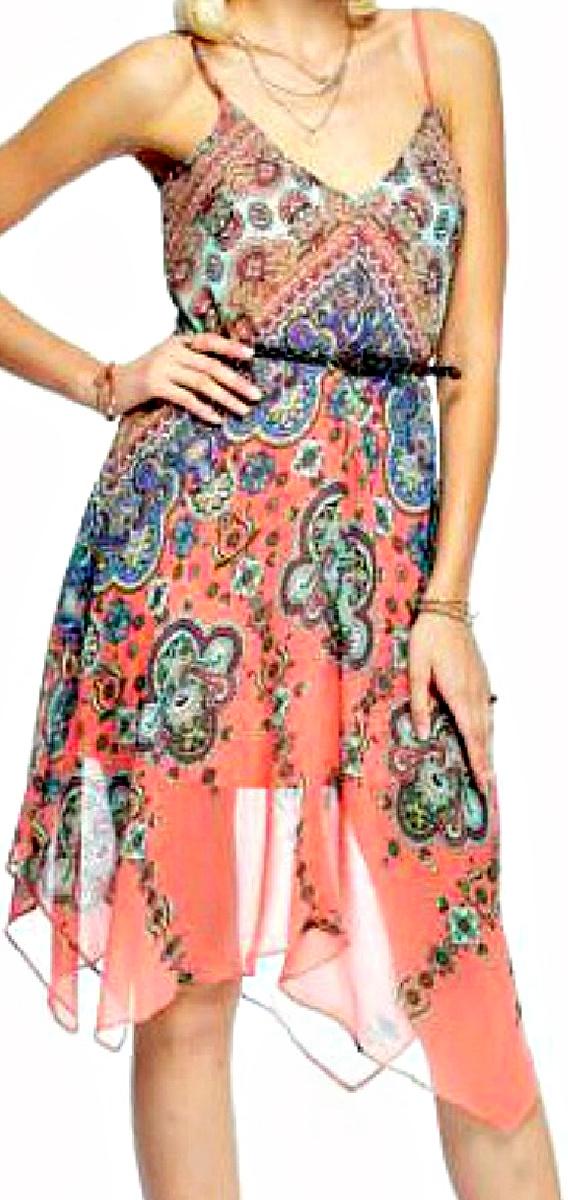 BOHO CHIC DRESS Multi Color Handkerchief Hemline Chiffon Dress ONLY S & L LEFT