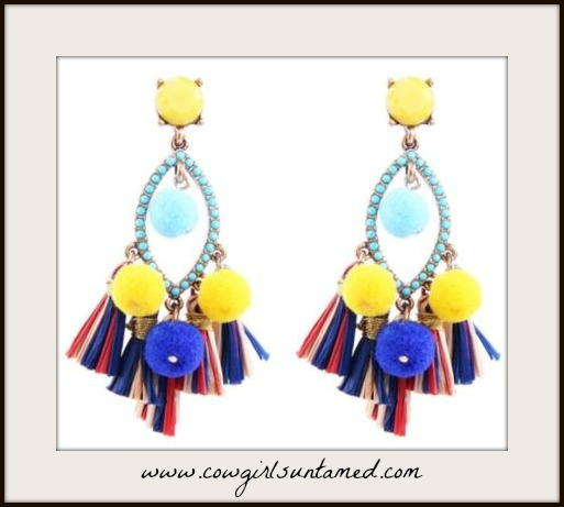 BOHO CHIC EARRINGS Turquoise Pom Pom Tassel Gold Tone Earrings