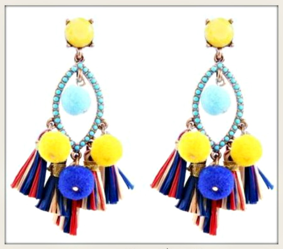 BOHO CHIC EARRINGS Turquoise Pom Pom Tassel Gold Tone Earrings LAST PAIR!