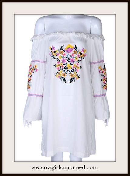BOHEMIAN COWGIRL DRESS Multi Color Boho Floral Print Off the Shoulder White Mini Dress