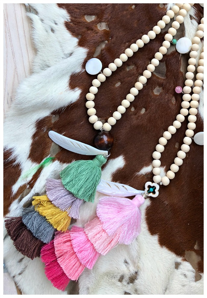 THE BOHO TASSEL NECKLACE Shell Feather Charm Long Beige Beaded Multi Color Tiered Large Tassel Boho Necklace 2 COLORS!