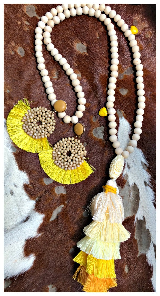 THE BOHO TASSEL NECKLACE Yellow Turquoise Heart & Shell Charm on Long Beige Beaded Yellow Tiered Large Tassel Boho Necklace