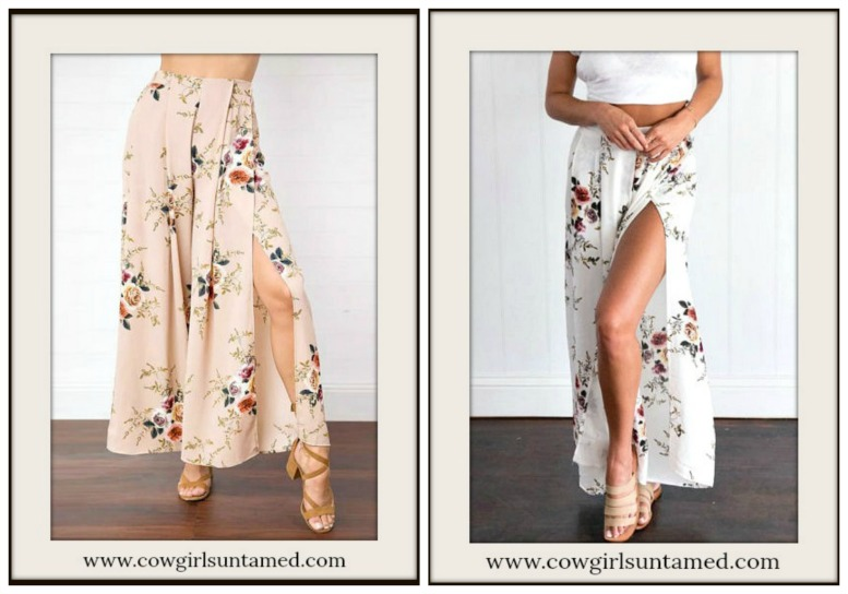 BOHO CHIC PANTS Vintage Floral Wide Leg Slit Side Pants