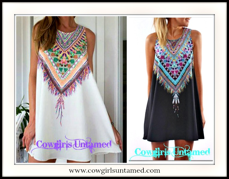 WILDFLOWER DRESS Feather Image Neckline on A-Line Black or White Sleeveless Mini Dress/Tunic Top