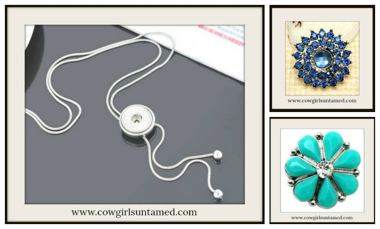 COWGIRL STYLE NECKLACE Silver Bolo Tie Necklace For Snap Charms w/ 1 FREE CHARM
