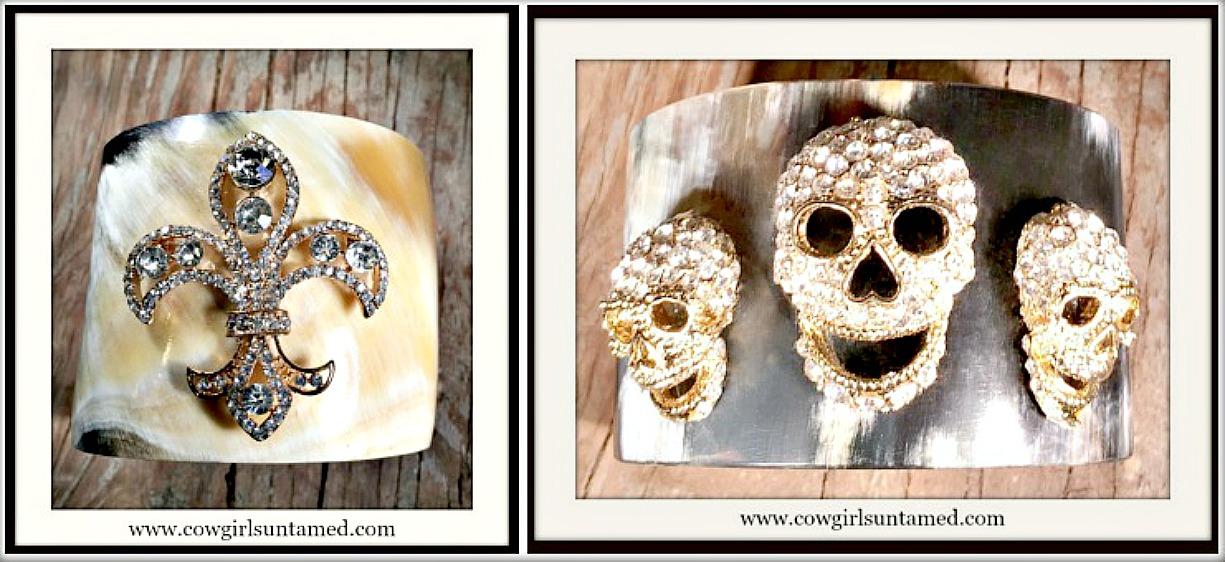 COWGIRL STYLE BRACELET Natural Bone Cuffs with Rhinestone Embellishment