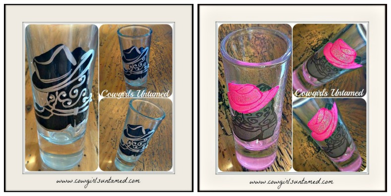 COWGIRL STYLE GLASS Western Boots With Cowboy Hat Shot Glass
