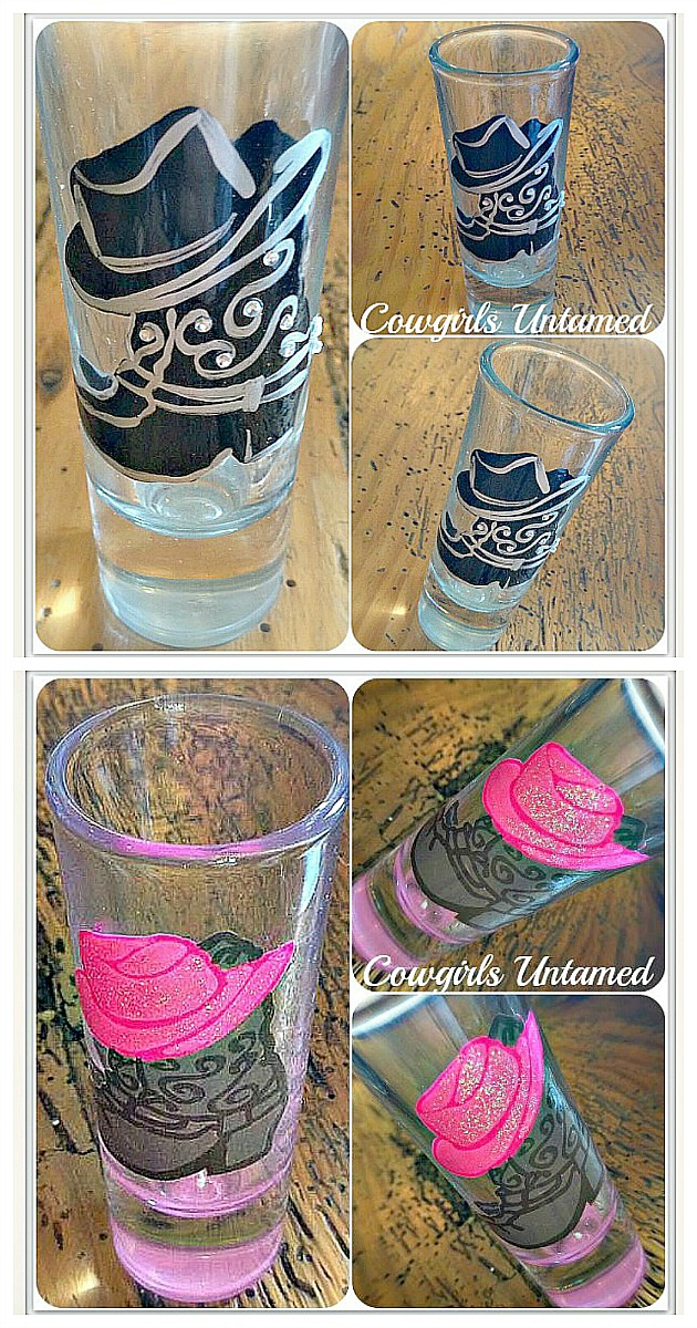 COWGIRL STYLE SHOT GLASS Western Boots With Cowboy Hat Shot Glass  2 styles Left