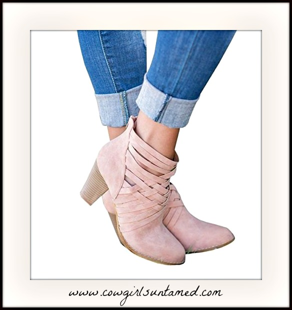 MAGNOLIAS BLOOM BOOTS Pink Chunky Heel Casual Slip On Criss Cross Booties