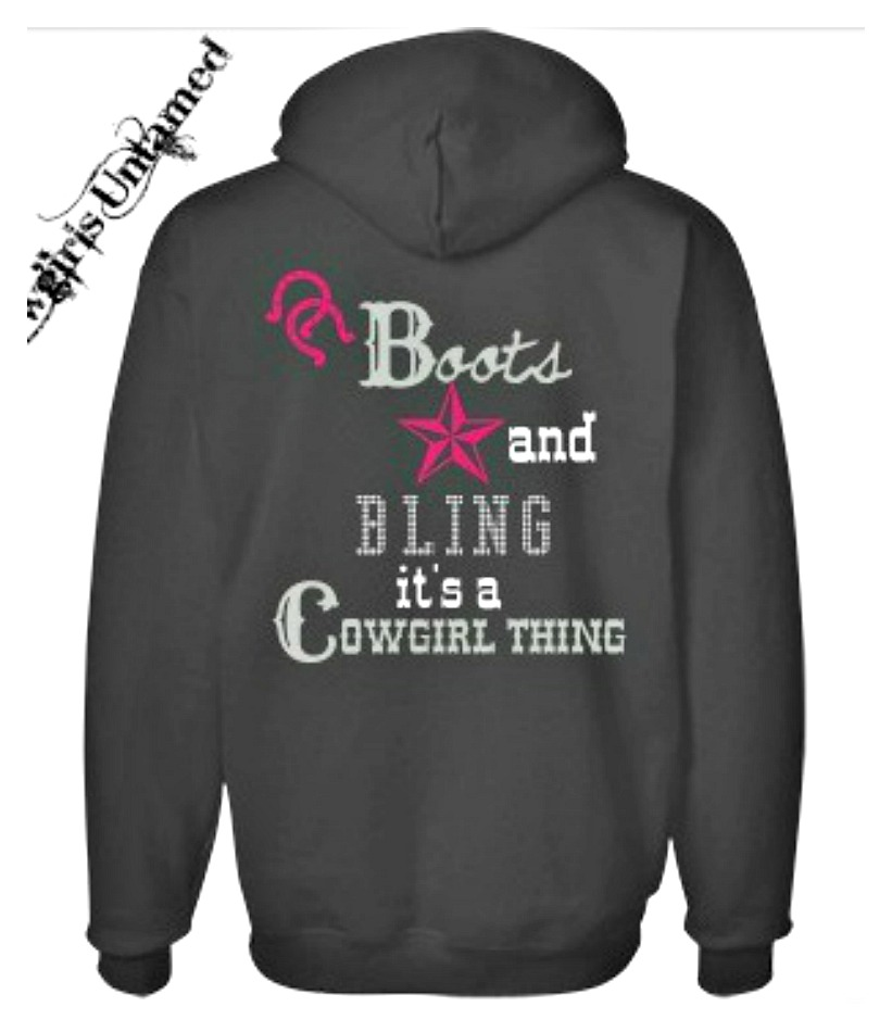 "COWGIRL STYLE HOODIE Pink ""Boots and Bling.. it's a Cowgirl Thing"" on Black Pullover Long Sleeve OVERSIZED Western Sweatshirt"