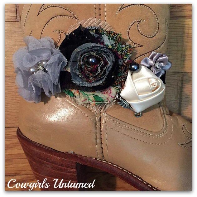WILDFLOWER BOOT GARTER  Grey Black and Cream Silk Flowers Pearls Rhinestone with Antique Silver Arrow Boot Cuff