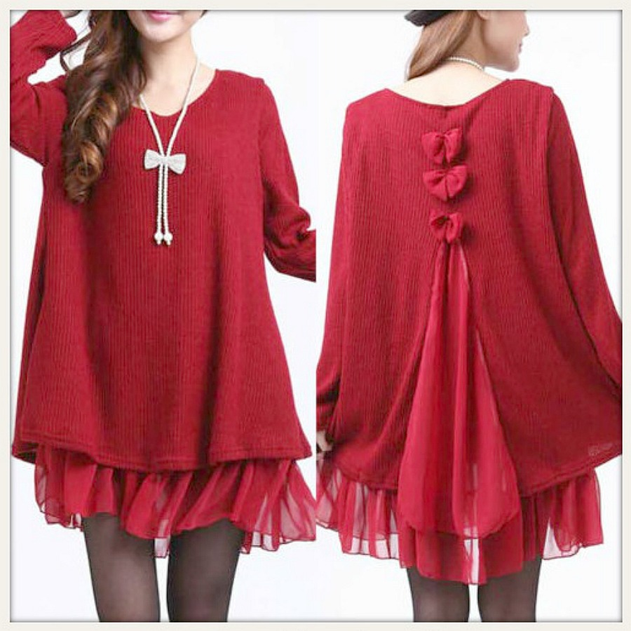 PRETTY LITTLE THING SWEATER Long Sleeve Layered Chiffon Bow RED Sweater Tunic Top  LAST ONE  PLUS SIZE